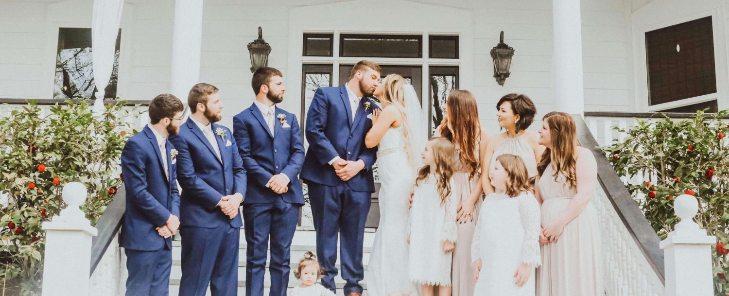 AVA House | Wedding Party on the steps of the house